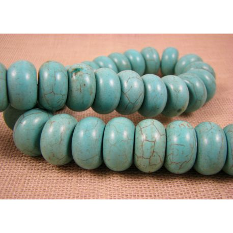 Synthetic turquoise thread, green-blue, rondical shape, size 18x10 mm
