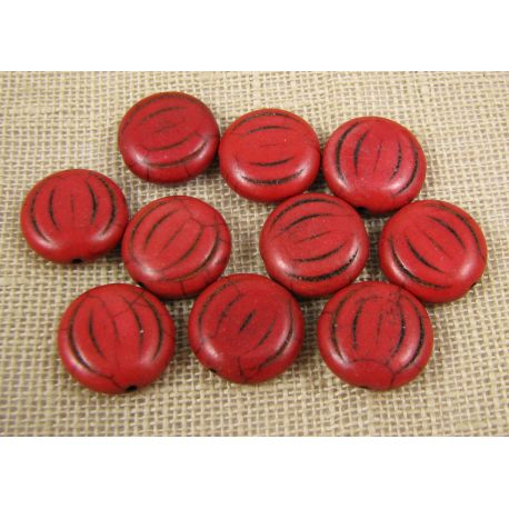 Synthetic turquoise coin, brown-red, size 15x5 mm