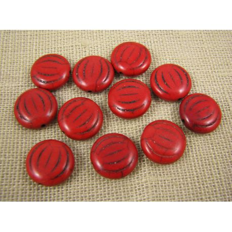 Synthetic turquoise coin, red, size 15x5 mm