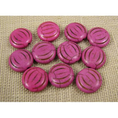 Synthetic turquoise coin, pink, size 15x5 mm