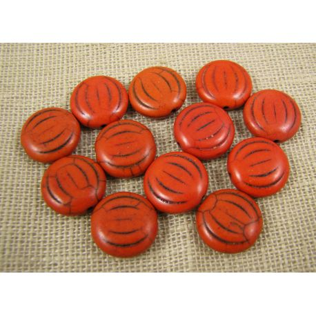 Synthetic turquoise coin, orange, size 15x5 mm