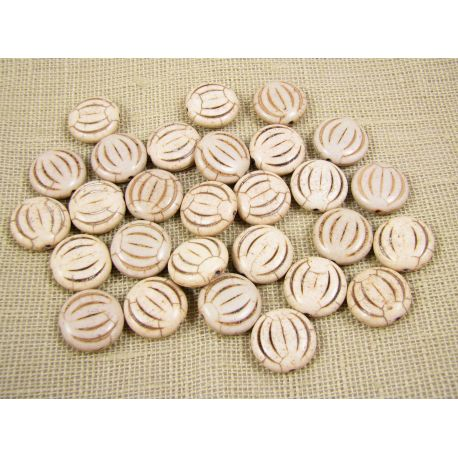 Synthetic turquoise coin, brownish-white, size 15x5 mm
