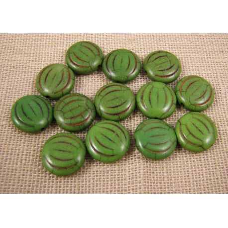 Synthetic turquoise coin, green, size 15x5 mm