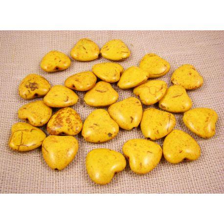 Sintetinio turkio širdelė, geltonos spalvos, dydis 20x20 mm