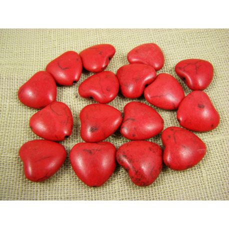 Synthetic turquoise heart, red, size 20x20 mm