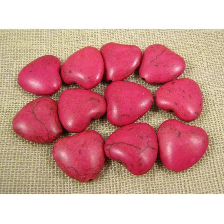 Sintetinio turkio širdelė, ryškios rožinės spalvos, dydis 20x20 mm