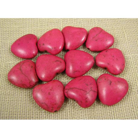 Synthetic turquoise heart, bright pink, size 20x20 mm