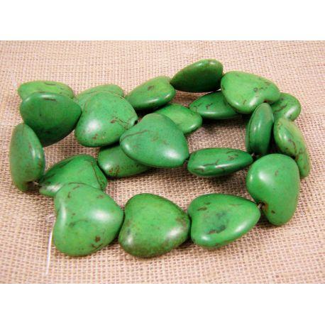 Sintetinio turkio širdelė, žalios spalvos, dydis 20x20 mm