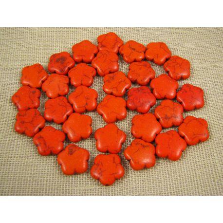 Sintetinio turkio gėlytė, oranžinės spalvos, dydis 15 mm