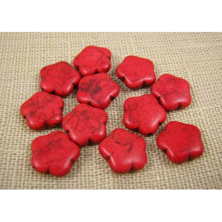 Sintetinio turkio gėlytė, raudonos spalvos, dydis 15 mm
