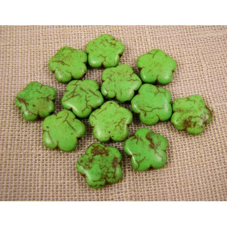 Sintetinio turkio gėlytė, žalios spalvos, dydis 15 mm