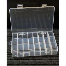 Plastikinė dėžutė rankdarbiams su skyreliais, skaidri, dydis 200x140 mm, 1 vnt