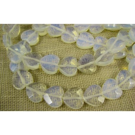Opalito beads white, ribbed, heart shaped, 14 mm
