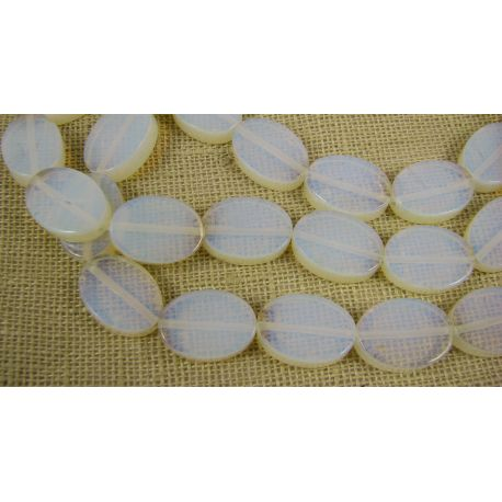 Opalito beads white, oval, 18x13 mm