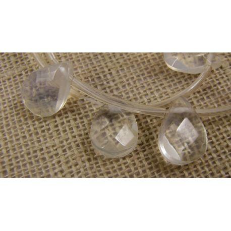 Opalito beads white, ribbed, drop shape, 12x8 mm