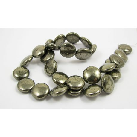 Pyrite stone bead thread, coin shape, glossy size 14 mm