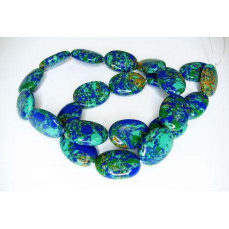 Sintetinio turkio gija, žalios, mėlynos spalvos, ovalo formos 18x13 mm