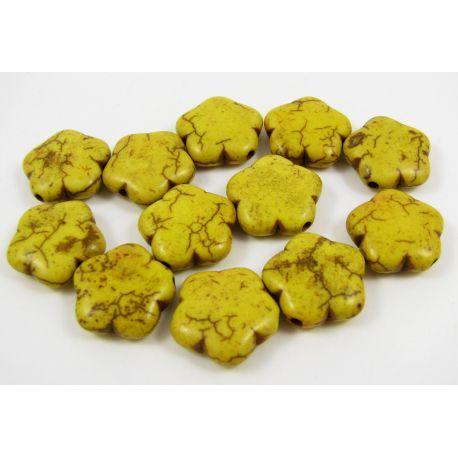 Sintetinio turkio gėlytė, geltonos spalvos, dydis 15 mm