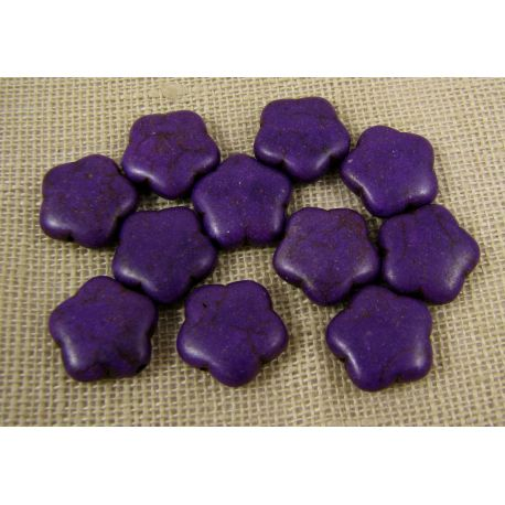 Synthetic turquoise flower, purple, size 15 mm