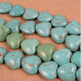 Synthetic turquoise hearts 18 mm, 1 pcs.