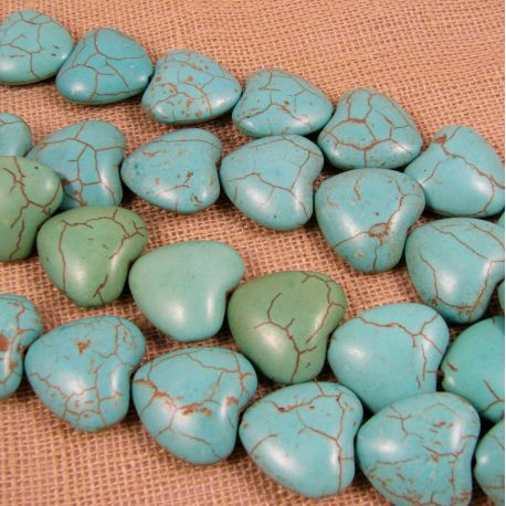 Synthetic turquoise heart, green-blue, size 18 mm