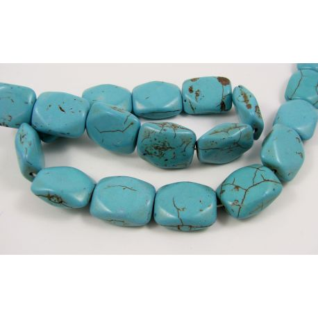 Synthetic turquoise beads, green-blue, size 20x16 mm