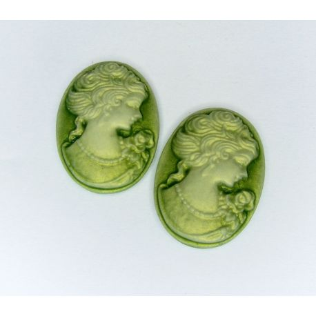 """Dioy """"Portrait of the Lady"""" green oval 25x18 mm"""