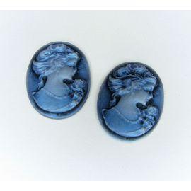 """Диой """"Женский портрет"""" голубой овал 23х17 мм, 1 шт."""