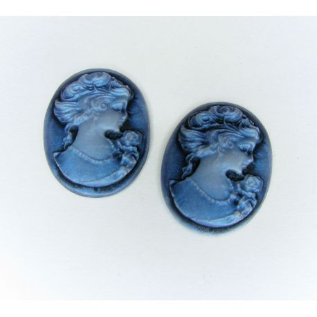 """Dioy """"Portrait of the Ladies"""" blue oval 23x17 mm, 1 pcs"""