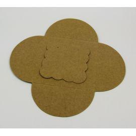 Открытка для серег + конверт, коричневая 50х50 мм, 1 шт.