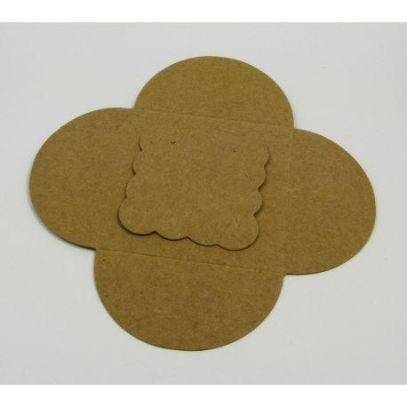 Card for earrings + envelope, brown 50x50 mm, 1 pcs.