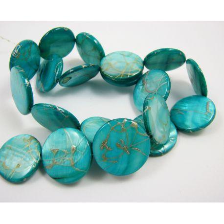 Pearl bead thread, bluish-green, coin shape,20 m