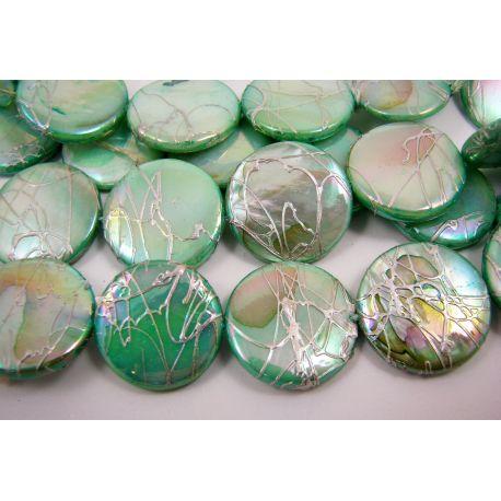 Pearl mass beads, light green, coin shape 20 mm