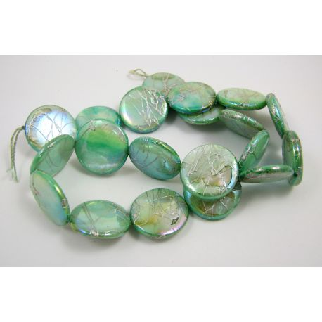 Pearl bead thread, light green, coin shape,20 mm