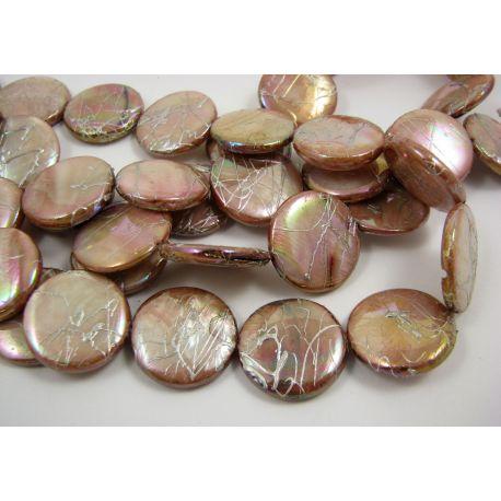 Pearl mass beads, light beige, coin shape 20 mm