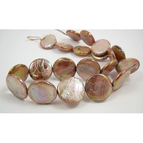 Pearl bead thread, light brownish, coin shape,20 mm