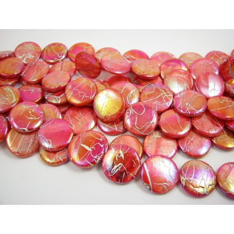 Pearl mass beads, red, coin shape 20 mm