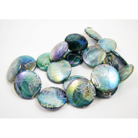 Pearl bead thread, green-blue, coin shape,20 mm