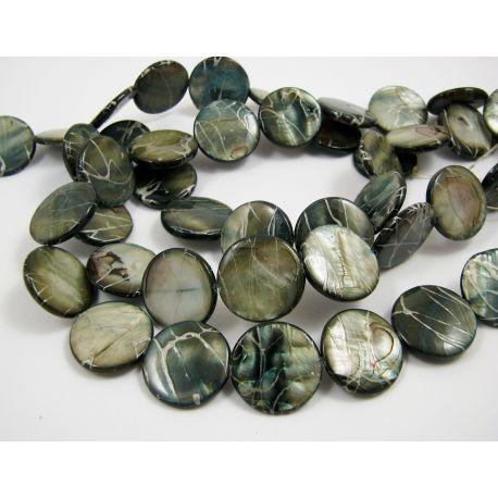 Pearl mass beads, dark blue, coin shape 20 mm