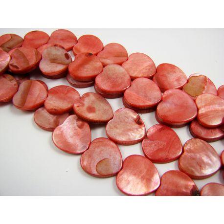 Pearl mass beads, red, heart shape 15 mm
