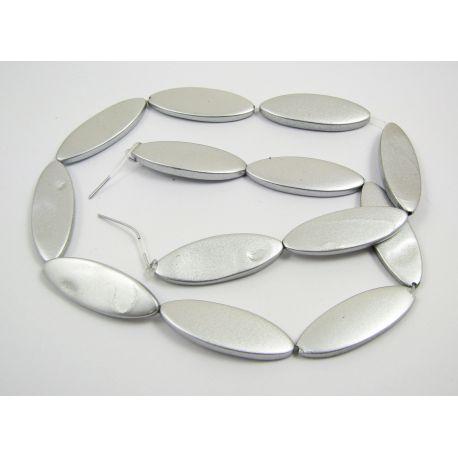 Pearl bead thread, gray, glossy, oval,30x10 mm