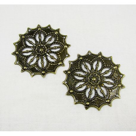 Openwork plate - for the manufacture of jewelry, bronze color,34 mm