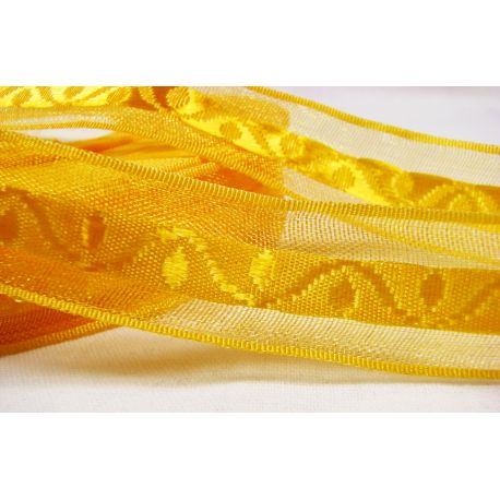 Satin ribbon with pattern, bright yellow, 20 mm wide, 1 meter