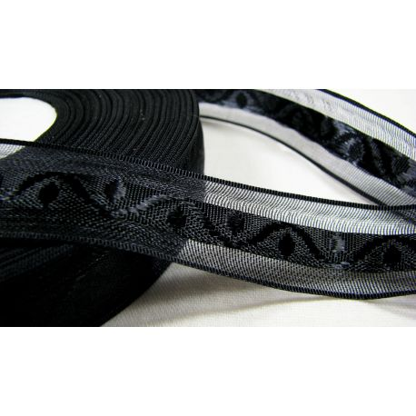 Satin ribbon with pattern, black, 20 mm wide, 1 meter