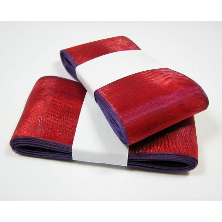 Organza strip, red with purple shade 40 mm wide