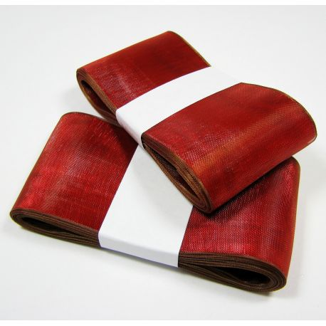 Organza strip, red with a brown shade 40 mm wide