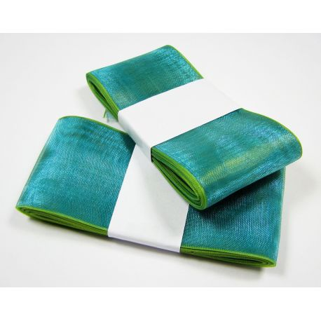 Organza strip, green with a salad shade 40 mm wide