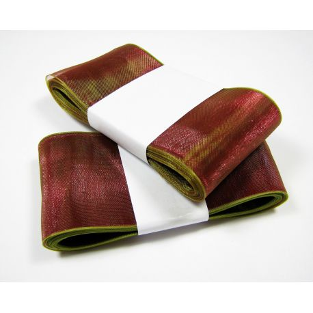 Organza ribbon, burgundy with a salad shade 40 mm wide