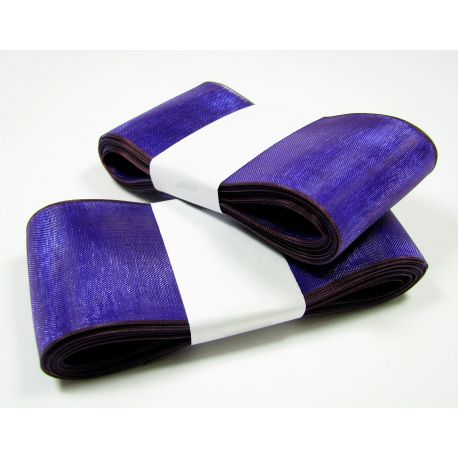 Organza strip, bright blue with purple shade 40 mm wide