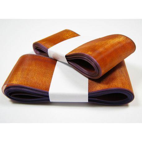 Organza strip, orange with purple shade 40 mm wide
